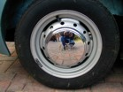 Original steel wheels with chrome hubcaps